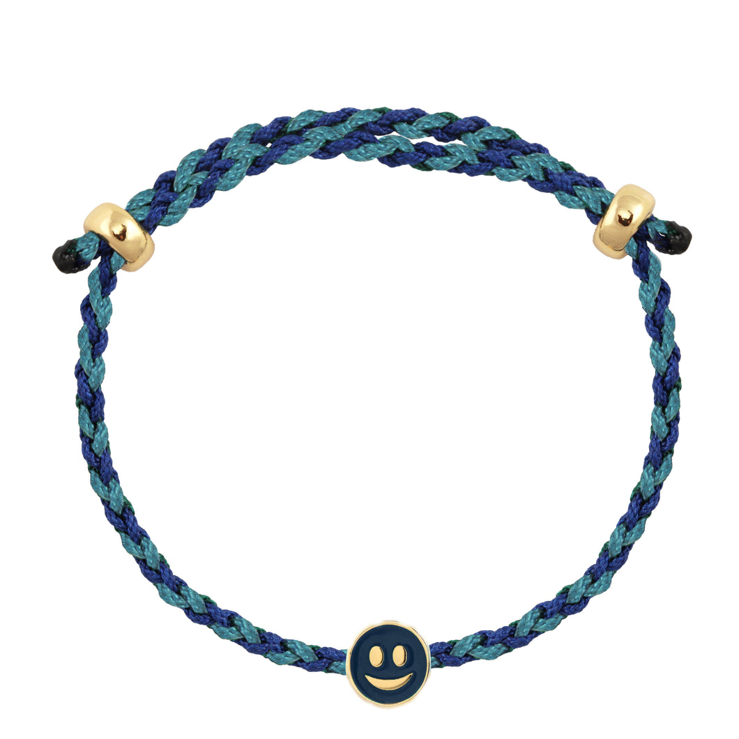 Smiley Face Enamel Charm Adjustable Rope Bracelet