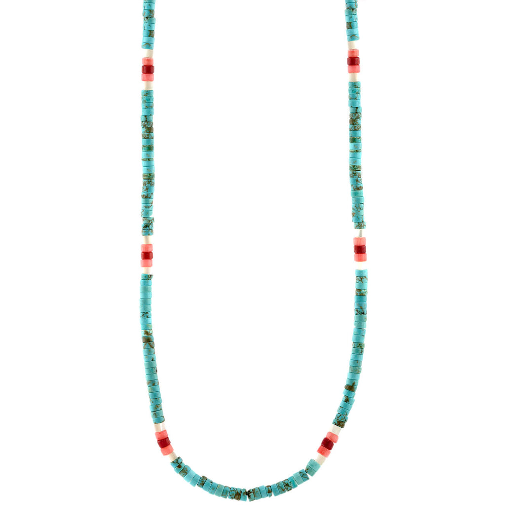 Turquoise Heishi Beaded Necklace