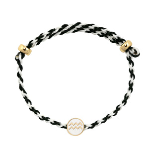 Zodiac Enamel Charm Adjustable Rope Bracelet
