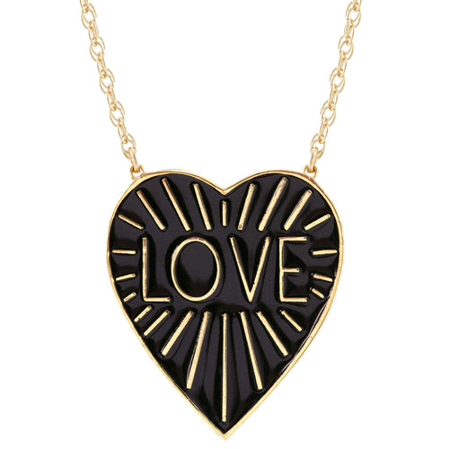 Love Heart Enamel Pendant on Extra Large Rope Chain