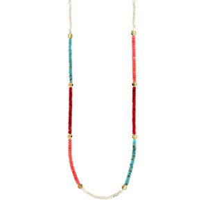 Color Block Smiley Heishi Beaded Necklace