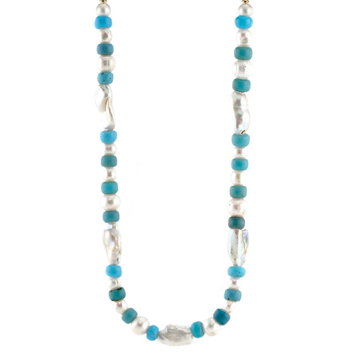 Freshwater Pearl and Blue African Trade Bead Necklace