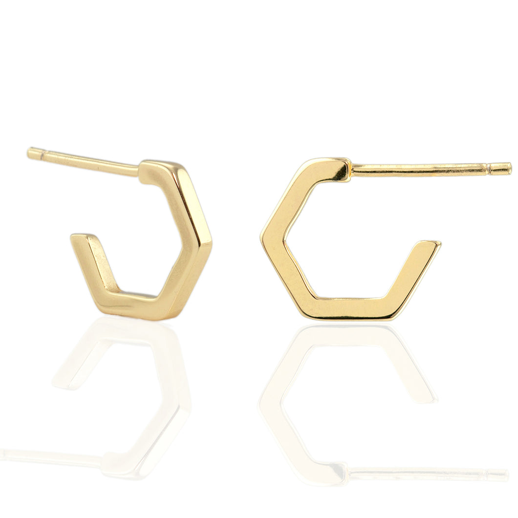 Hexagon Huggie Hoop Earrings