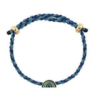 Rainbow Enamel Charm Adjustable Rope Bracelet Blue