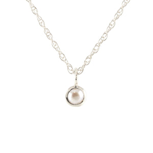 Gemstone Charm Necklace - Pearl