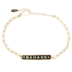 Badass Enamel Bracelet with Drawn Cable Chain