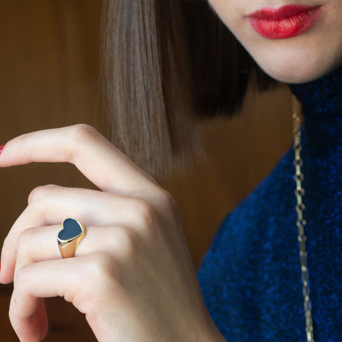 Heart Enamel Signet Ring