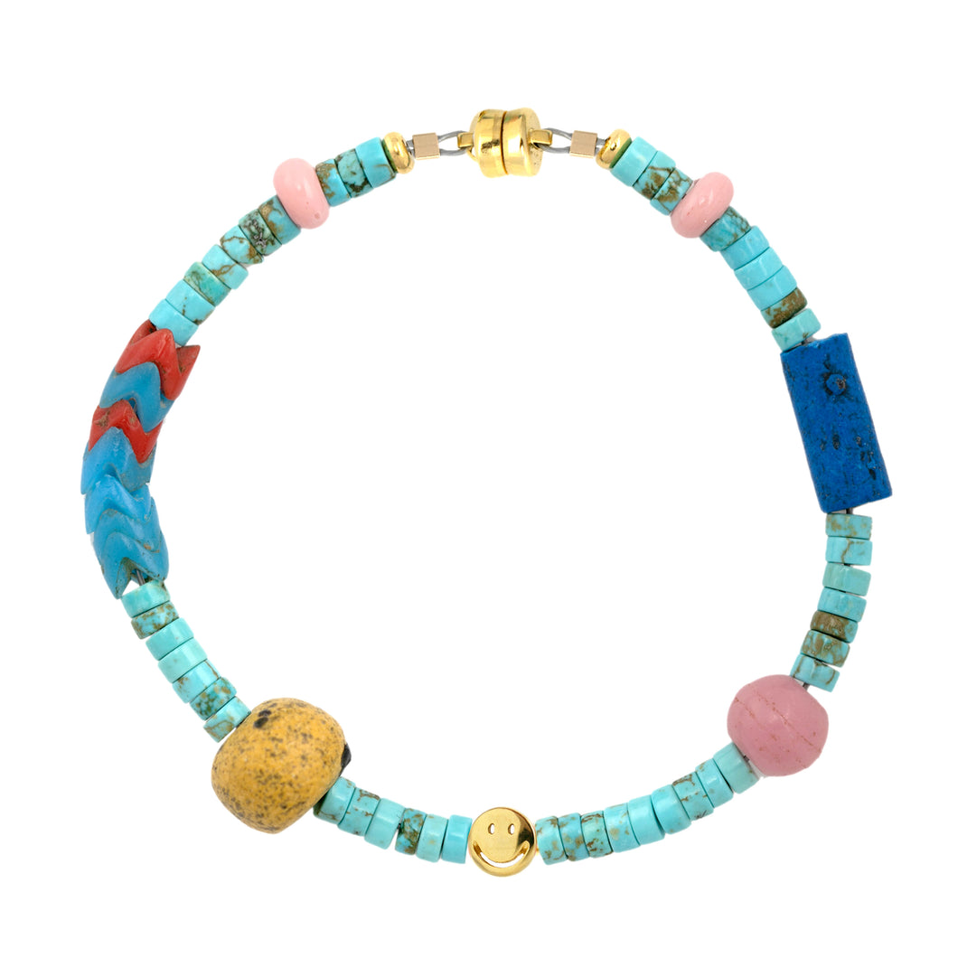Turquoise Heishi and African Trade Bead Smiley Beaded Bracelet