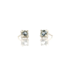 Load image into Gallery viewer, Prong Set Gemstone Stud Earrings - Aquamarine