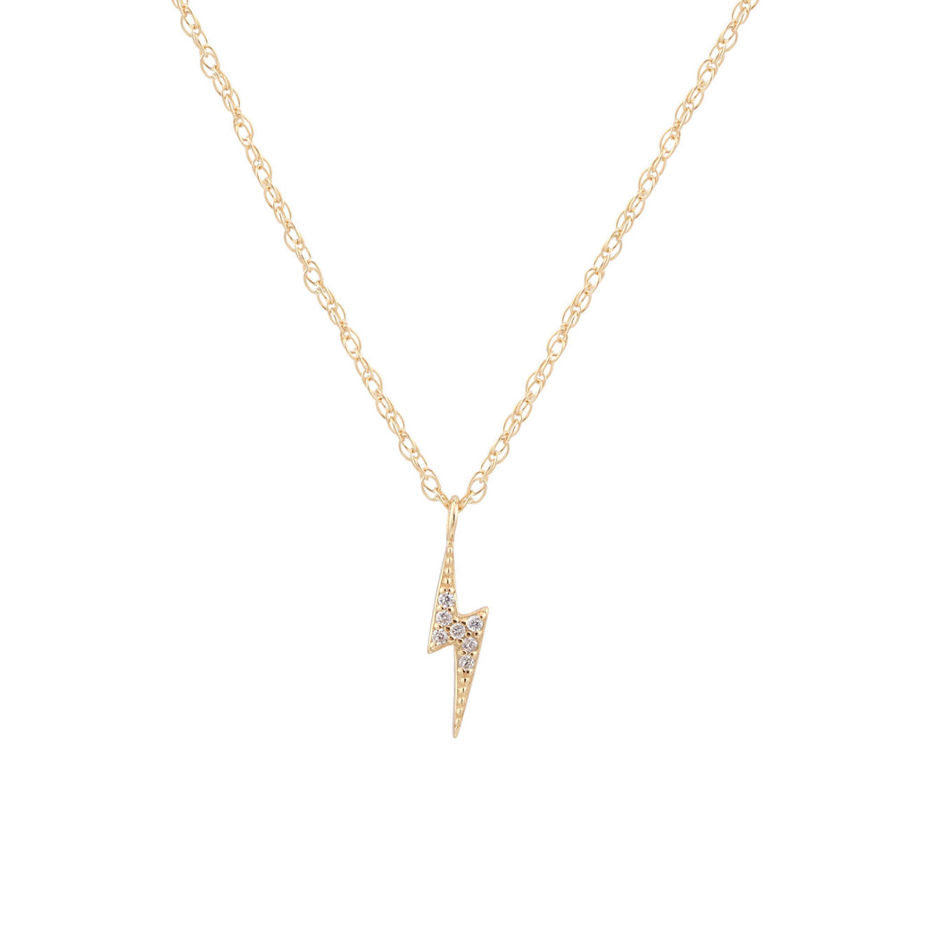 Lightning Bolt Pave Charm Necklace