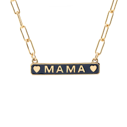 Mama Enamel Charm Necklace with Drawn Cable Chain