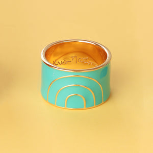Rainbow Enamel Cigar Band Ring