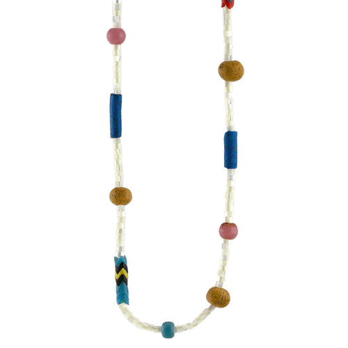 Mother of Pearl Heishi and African Trade Bead Necklace