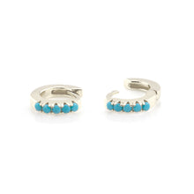 Load image into Gallery viewer, Turquoise Huggie Hoop Earrings