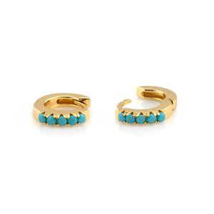 Turquoise Huggie Hoop Earrings