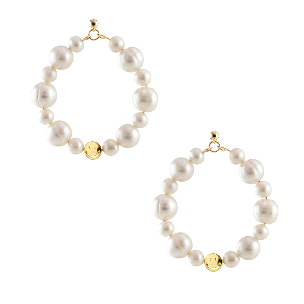 Freshwater Pearl Smiley Hoop Earrings