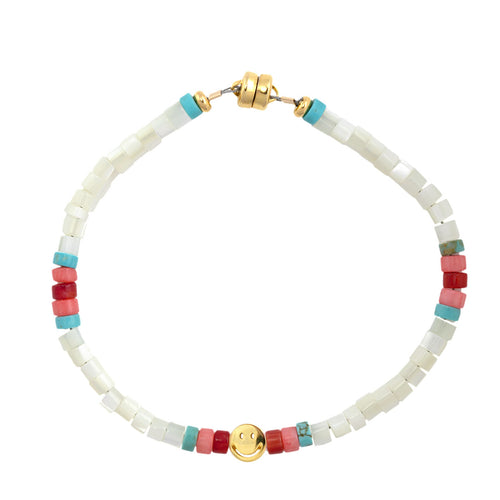 Mother of Pearl Heishi Smiley Beaded Bracelet