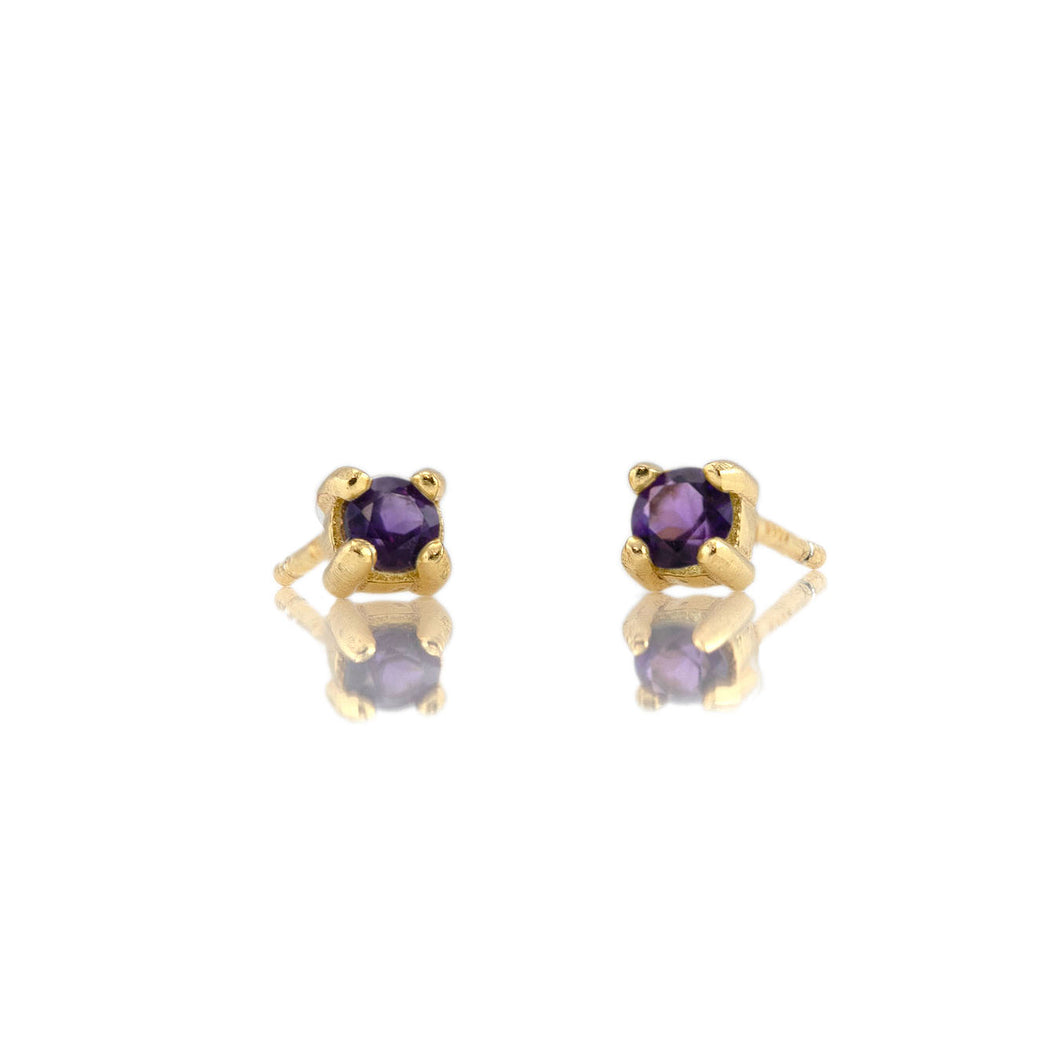 Prong Set Gemstone Stud Earrings - Amethyst