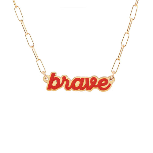 Brave Enamel Charm necklace