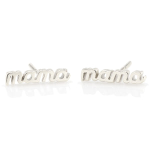 Mama Script Stud Earrings