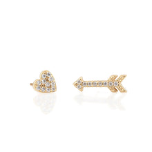 Load image into Gallery viewer, Heart and Arrow Pave Stud Earrings
