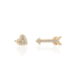 Heart and Arrow Pave Stud Earrings