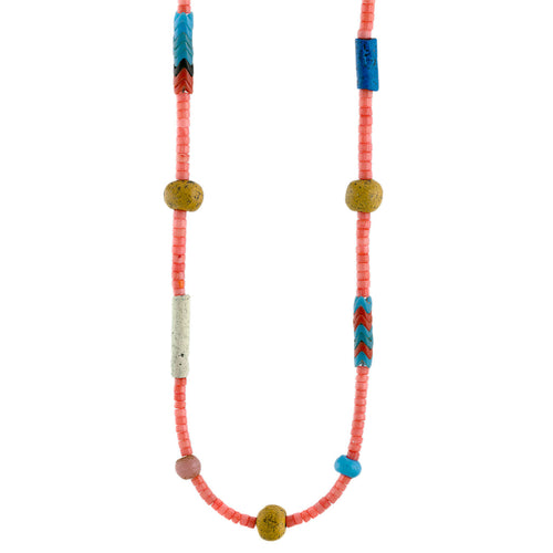 Pink Coral Heishi and African Trade Bead Necklace