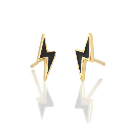 Lightning Bolt Enamel Stud Earrings