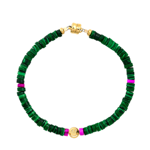 Malachite Heishi Smiley Beaded Bracelet