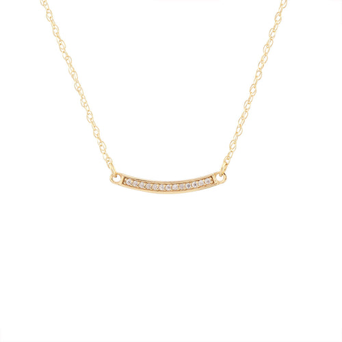 Bar Pave Charm Necklace