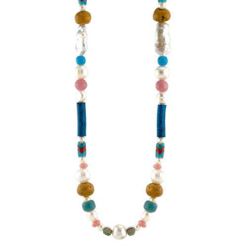 Freshwater Pearl and Assorted African Trade Bead Necklace