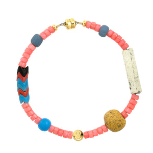 Pink Coral Heishi and African Trade Bead Smiley Beaded Bracelet