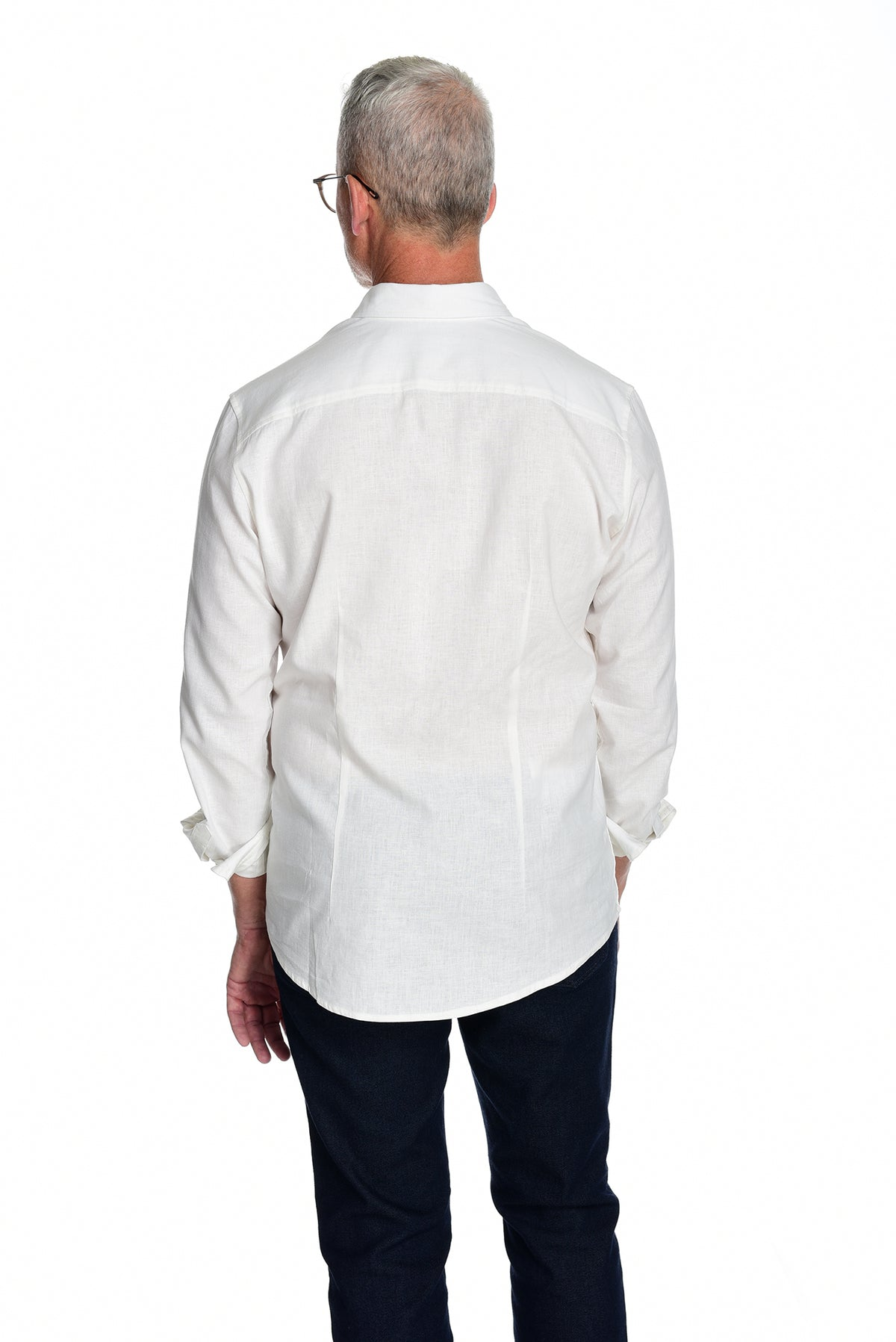 Men's Long Sleeve Button Down Shirt the Bastille Shirt by Fisher + Baker White Backside
