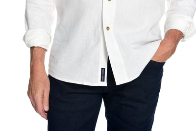 Men's Long Sleeve Button Down Shirt the Bastille Shirt by Fisher + Baker White Placket Close Up