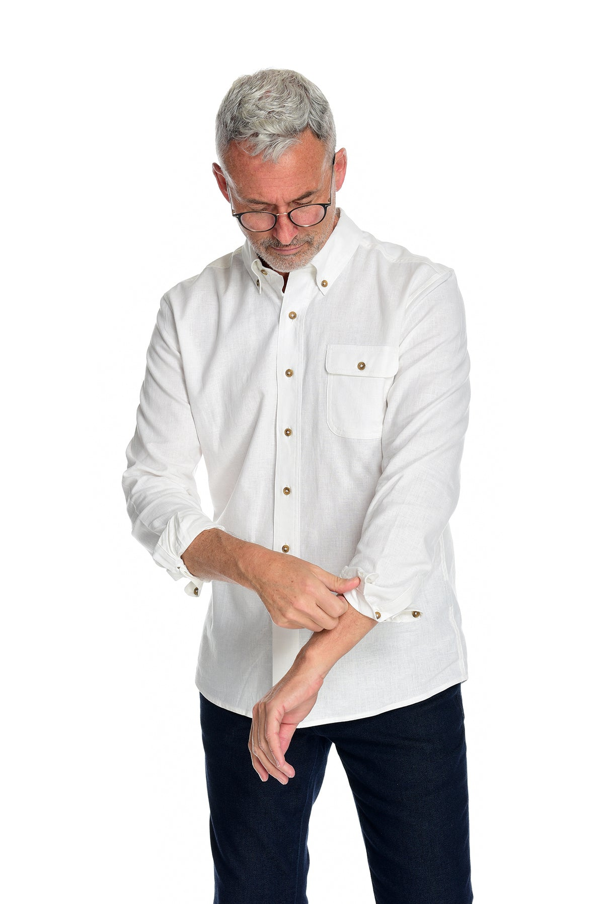 Men's Long Sleeve Button Down Shirt the Bastille Shirt Rolled Up Cuffs by Fisher + Baker White Button Down Collar