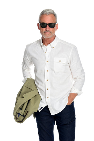 Men's Long Sleeve Button Down Shirt the Bastille Shirt by Fisher + Baker White Styled