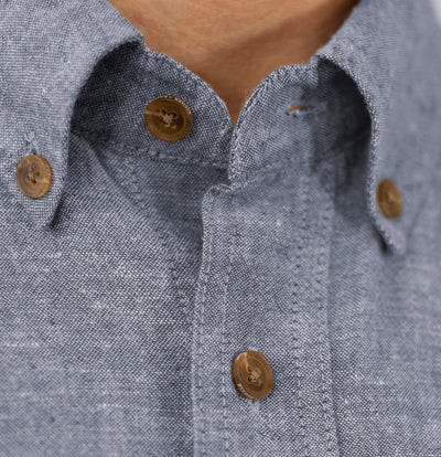 Men's Bastille Long Sleeve Button Down Hemp and Organic Cotton Shirt by Fisher + Baker Insignia Button Down Collar