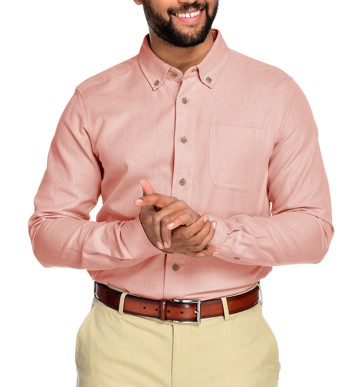Men's Camden Long Sleeve Button Down Merino Wool Organic Cotton Shirt by Fisher + Baker Salmon