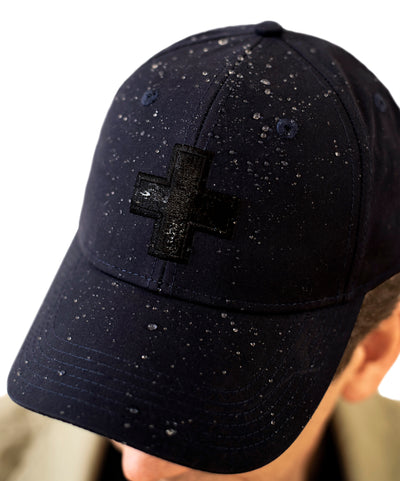 Men's Water Resistant Ventile Cotton Ball Cap By Fisher and Baker Navy Water Beading