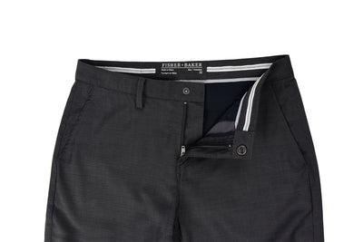 Men's 2-way stretching, thermo regulating and breathable wool and performance polyester Davis Short Eclipse Grey waistband detail and slide snap closure detail