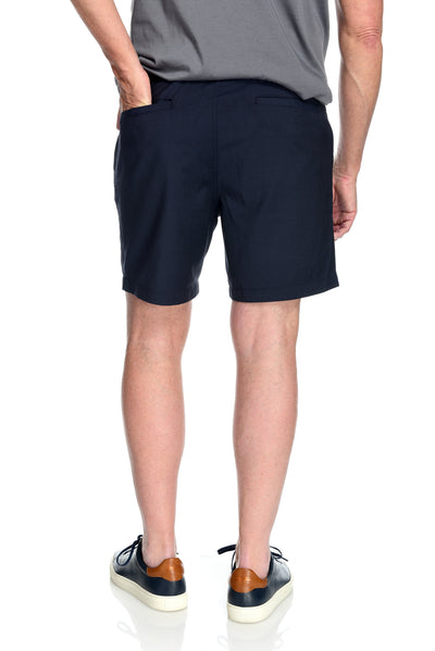 Men's 2-way stretching, thermo regulating and breathable wool and performance polyester Davis Short Midnight Blue Back Pocket Detail