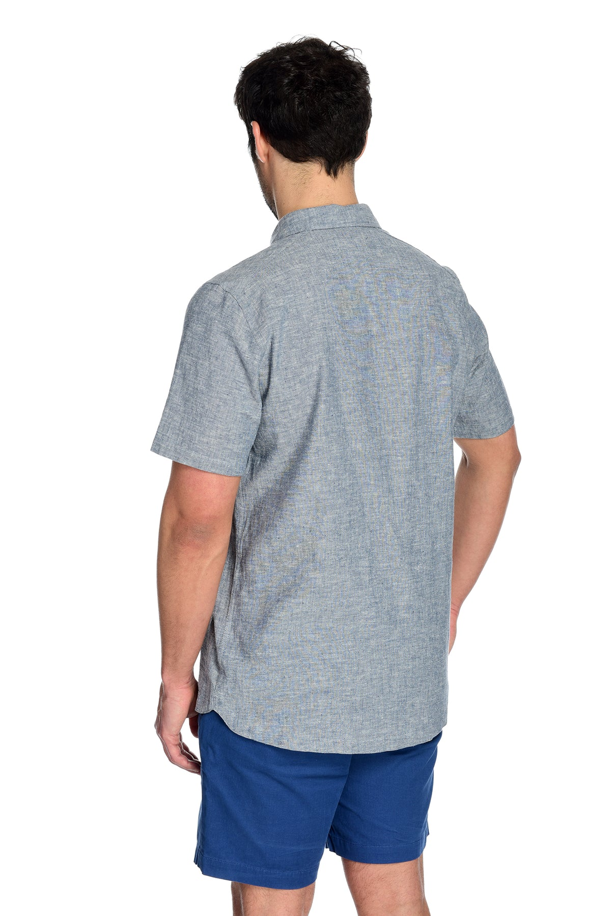Men's Short Sleeve Shirt the Radium Short Sleeve Hemp and Organic Cotton Shirt by Fisher + Baker Insignia Backside Drop Hem