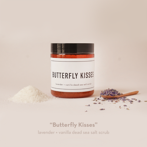 BUTTERFLY KISSES lavender + vanilla + dead sea salt scrub