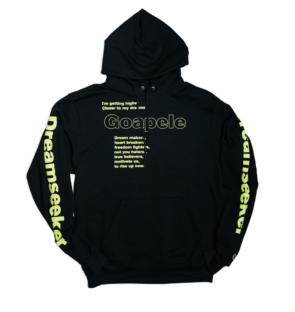 Lyric hoodie - Black and Neon Yellow