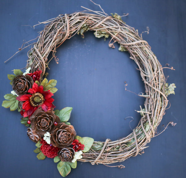 "14"" Red Floral Grapevine Wreath"