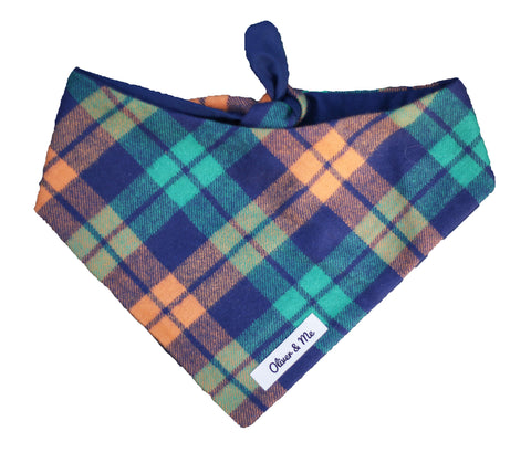 Peaches and Teal Plaid Bandana