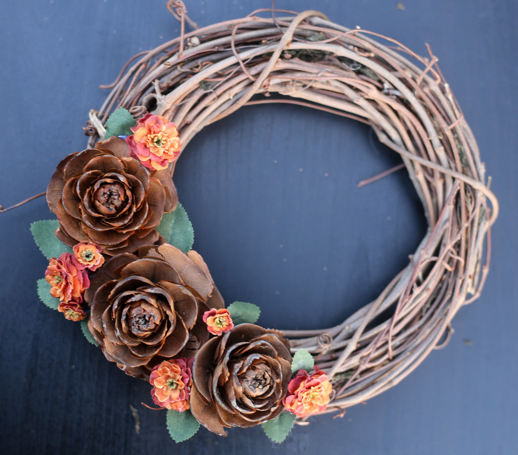 "8"" Orange Floral Grapevine Wreath"