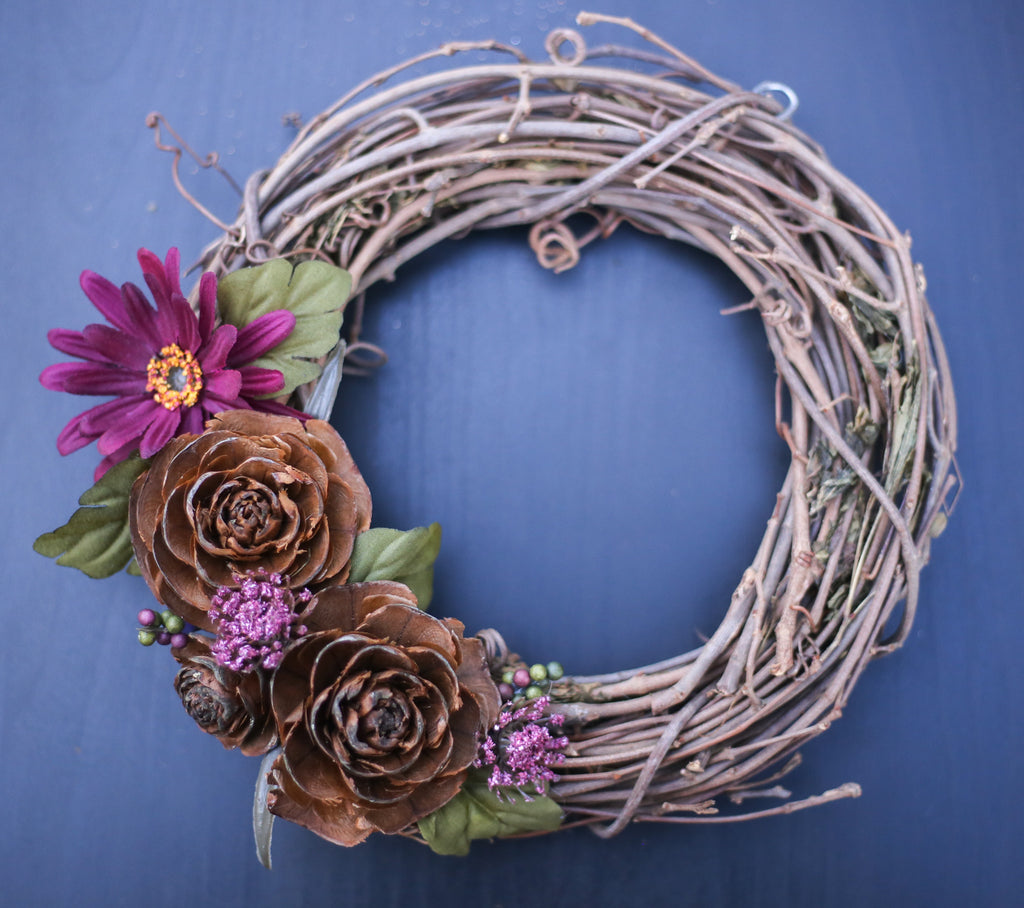 "8"" Purple Floral Grapevine Wreath"