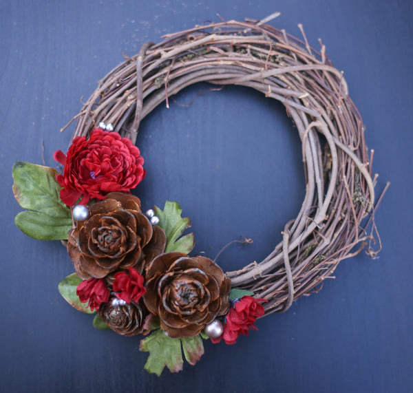 "8"" Red Floral Grapevine Wreath"