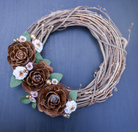 "8"" White Floral Grapevine Wreath"
